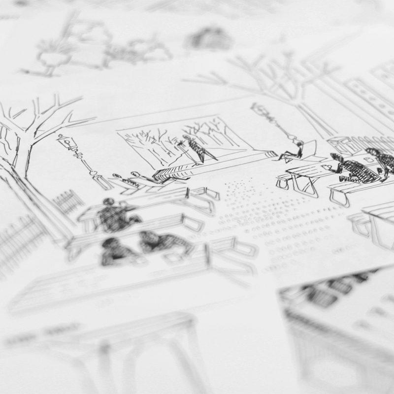 LIQUI - BRIEF AND INITIAL DESIGNS - Hyde-Park-sketch of a Liqui design for London Coffee Festival