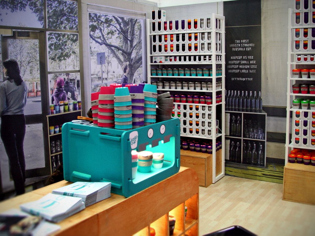 Liqui Exhibition Stand Design - Keep Cup trade stand showing a bespoke Point Of Sale unit and display shelving.