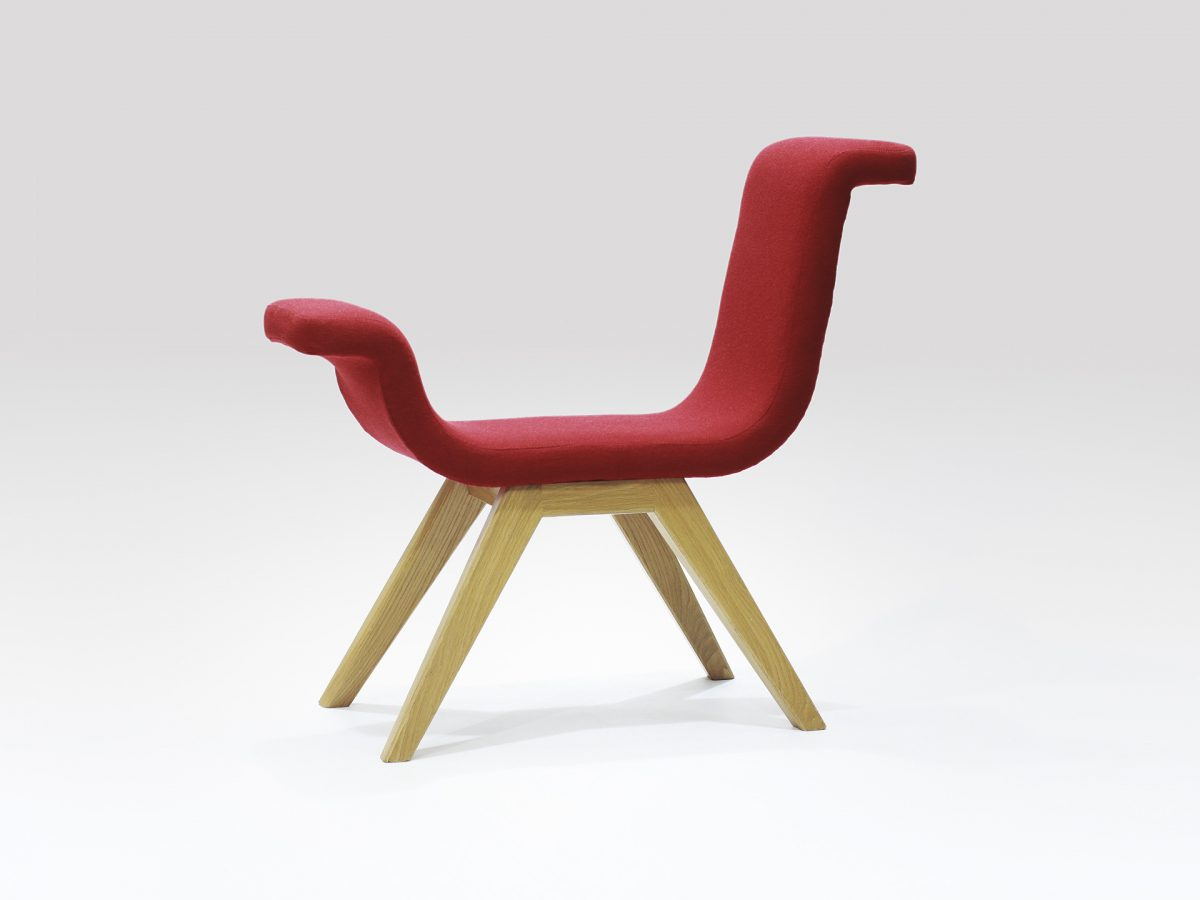 Liqui Contract Chair - A-normal - Sustainably sourced Birch Ply with recycled foam upholstered in Main Line Flax with Oak legs.