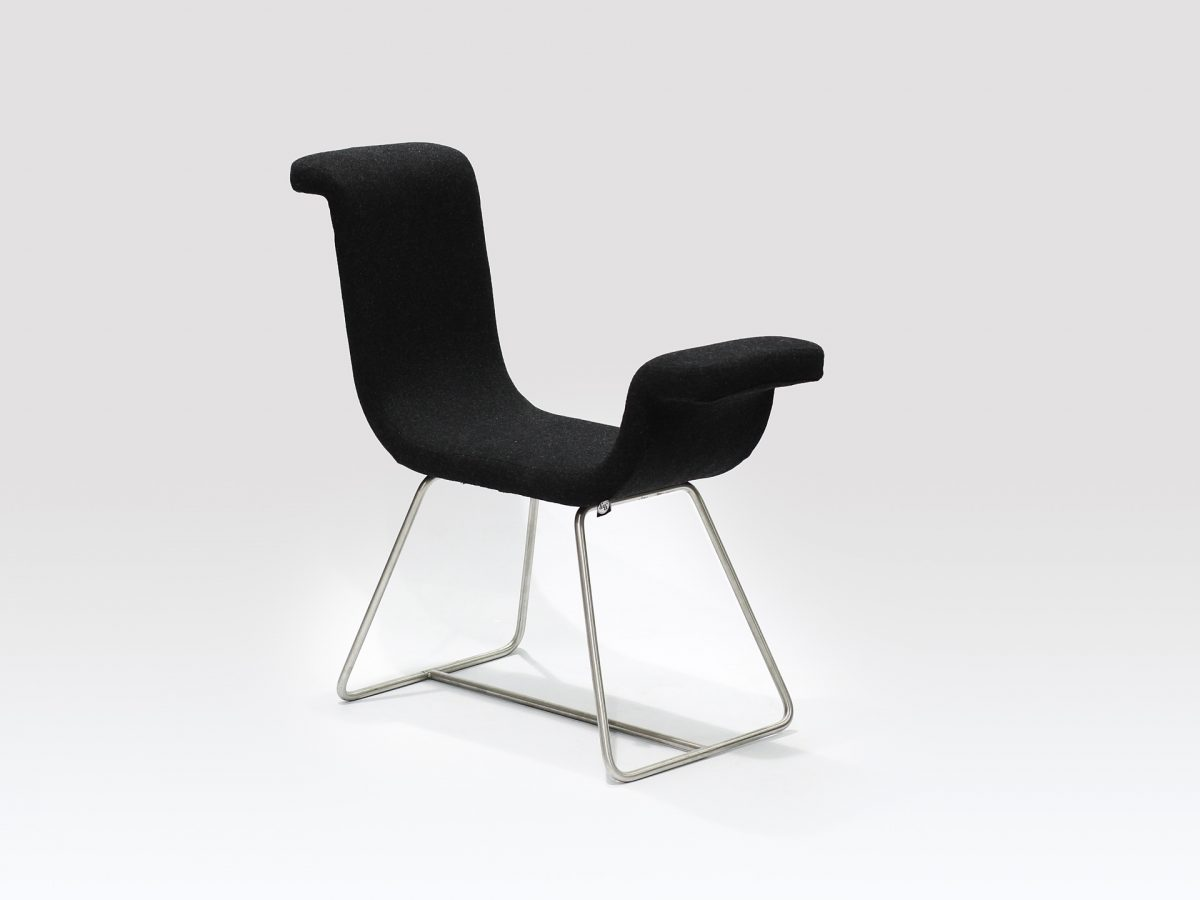 Liqui Contract Chair - A-normal - Sustainably sourced Birch Ply with recycled foam upholstered in Main Line Flax with stainless steel legs.