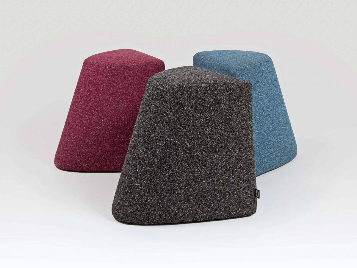Liqui Contract Darla Stools - View of three stools - sustainably sourced Birch Ply and upholstered inMain Line Flax