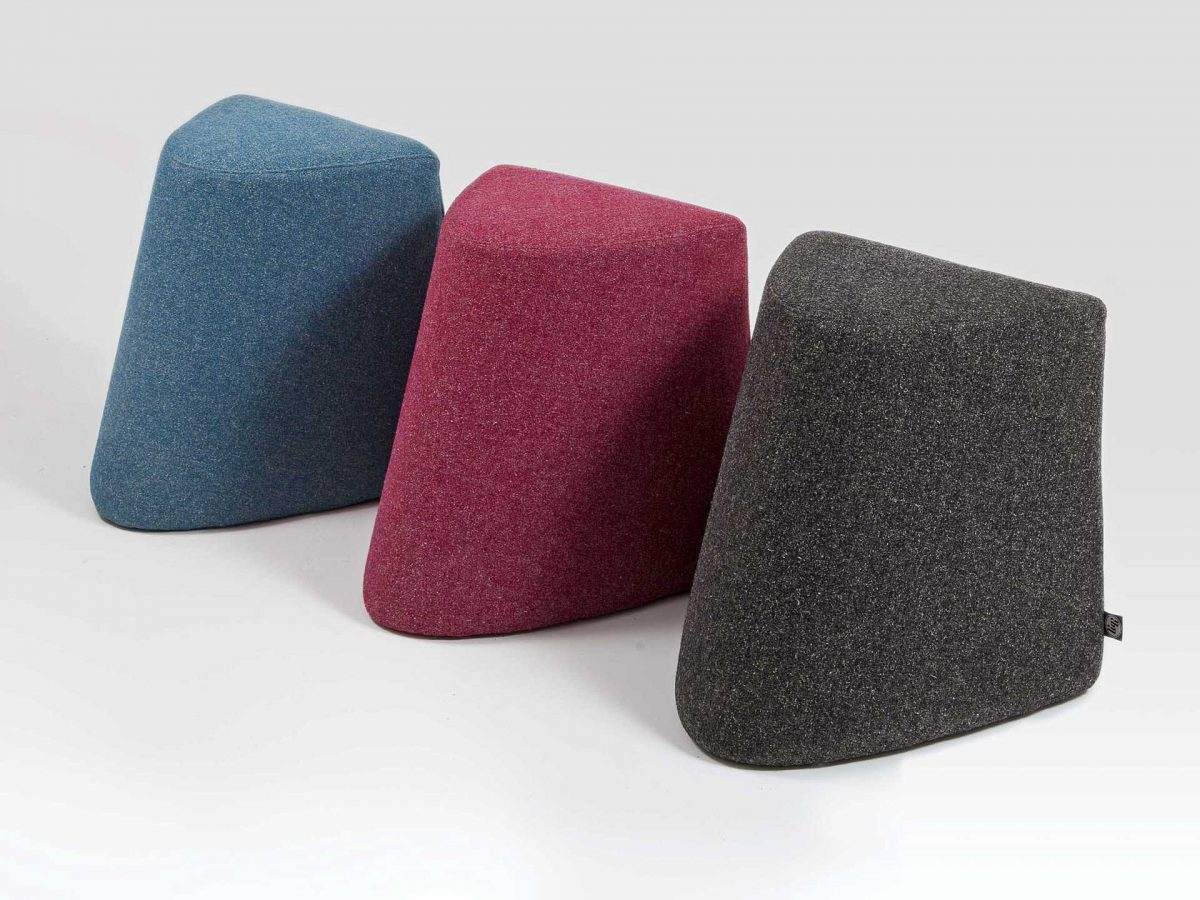 Liqui Contract Darla Stool - View of three stools in a row - sustainably sourced Birch Ply and upholstered inMain Line Flax
