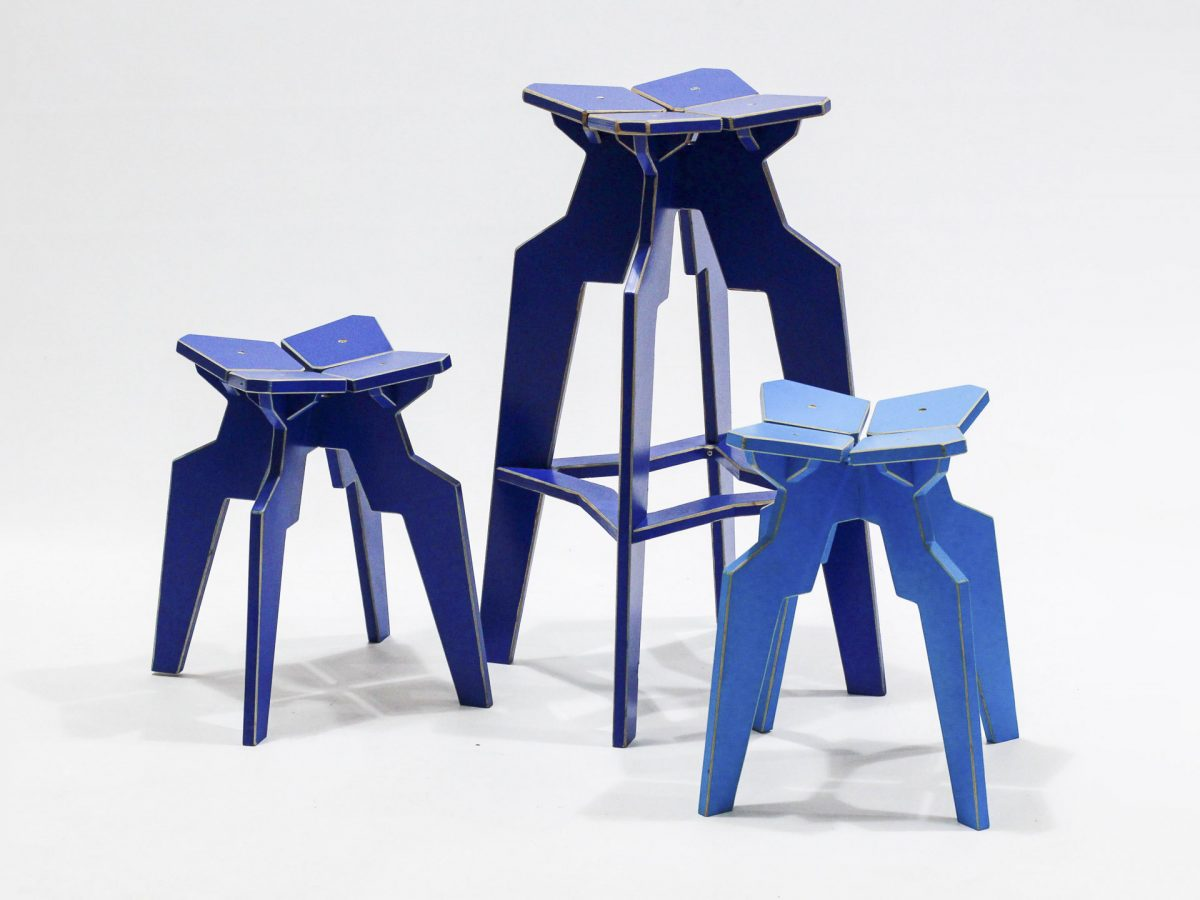 Liqui Contract Splice Bar Stool and two Splice stools in sustainably sourced Birch ply.