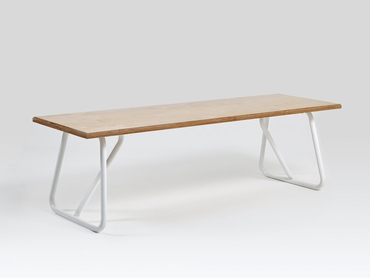 Liqui Contract Bench - Trapeze Bench - Sustainably sourced Birch Ply & powder coated steel