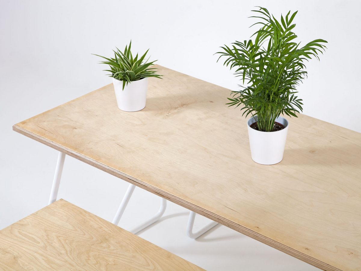 Liqui Contract Bench - Top view of Trapeze Bench with Trapeze Table - Sustainably sourced Birch Ply & powder coated steel