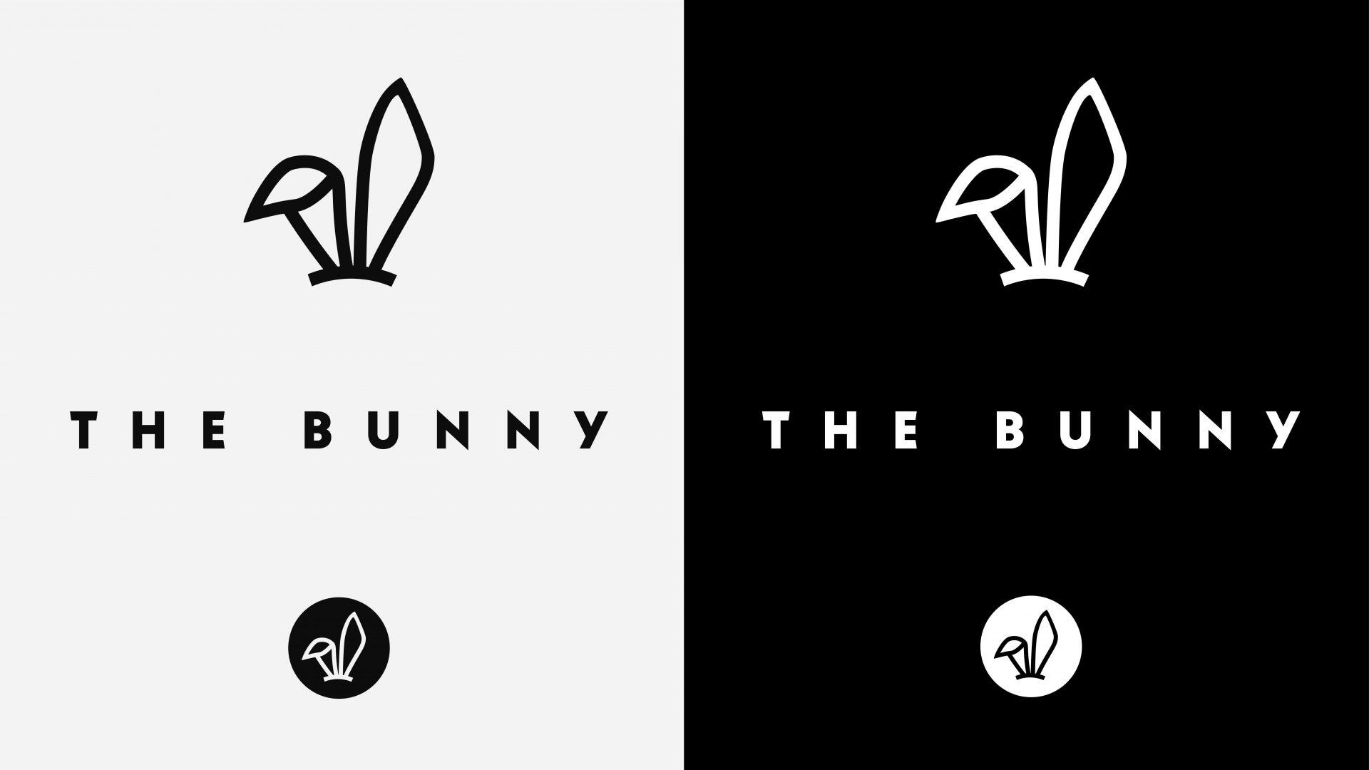 Crate47 Branding for The Bunny bubble tea shop – black logo on white, white logo on black