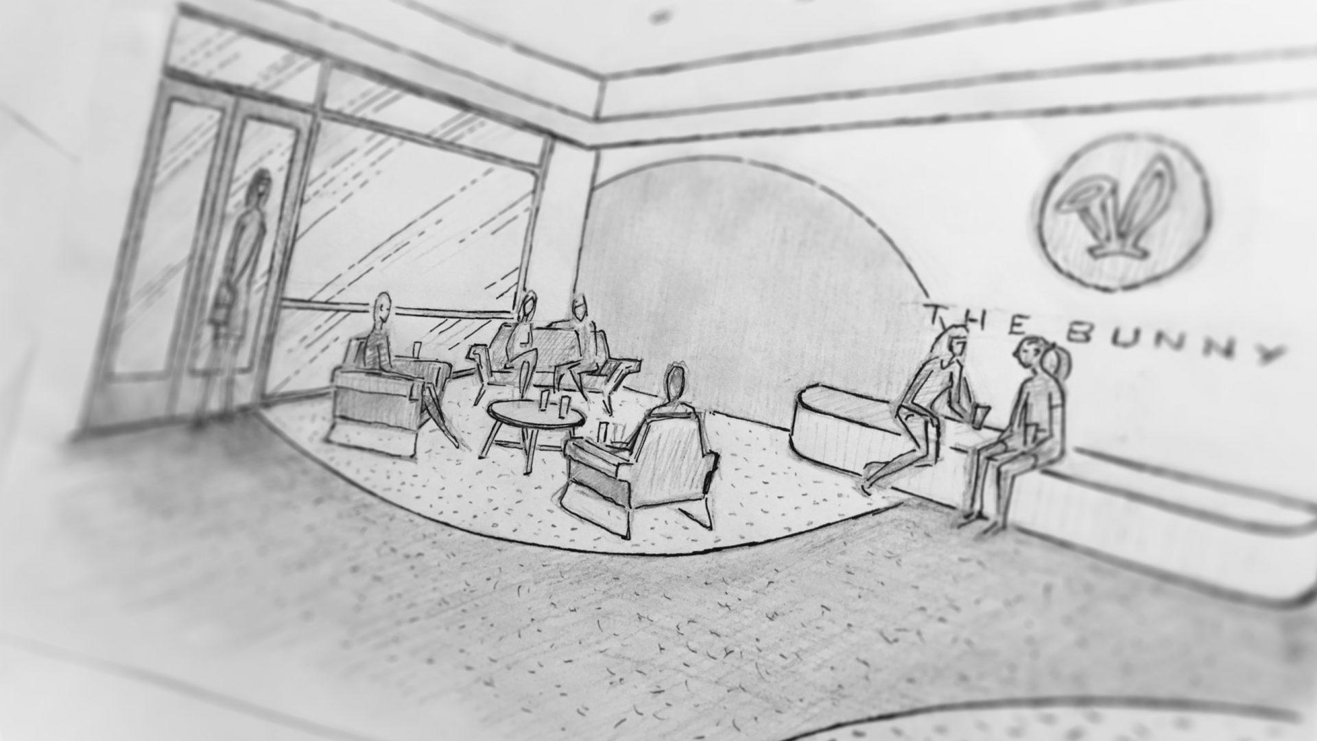 The Bunny Bubble Tea Store interior design sketch – front seating area area