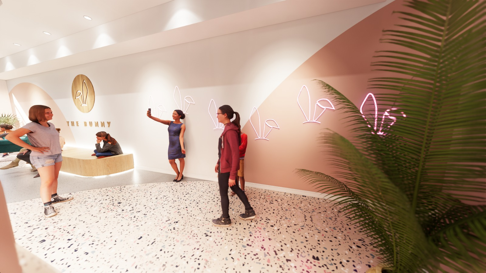 The Bunny Bubble Tea Shop design neon wall marques and bench seating