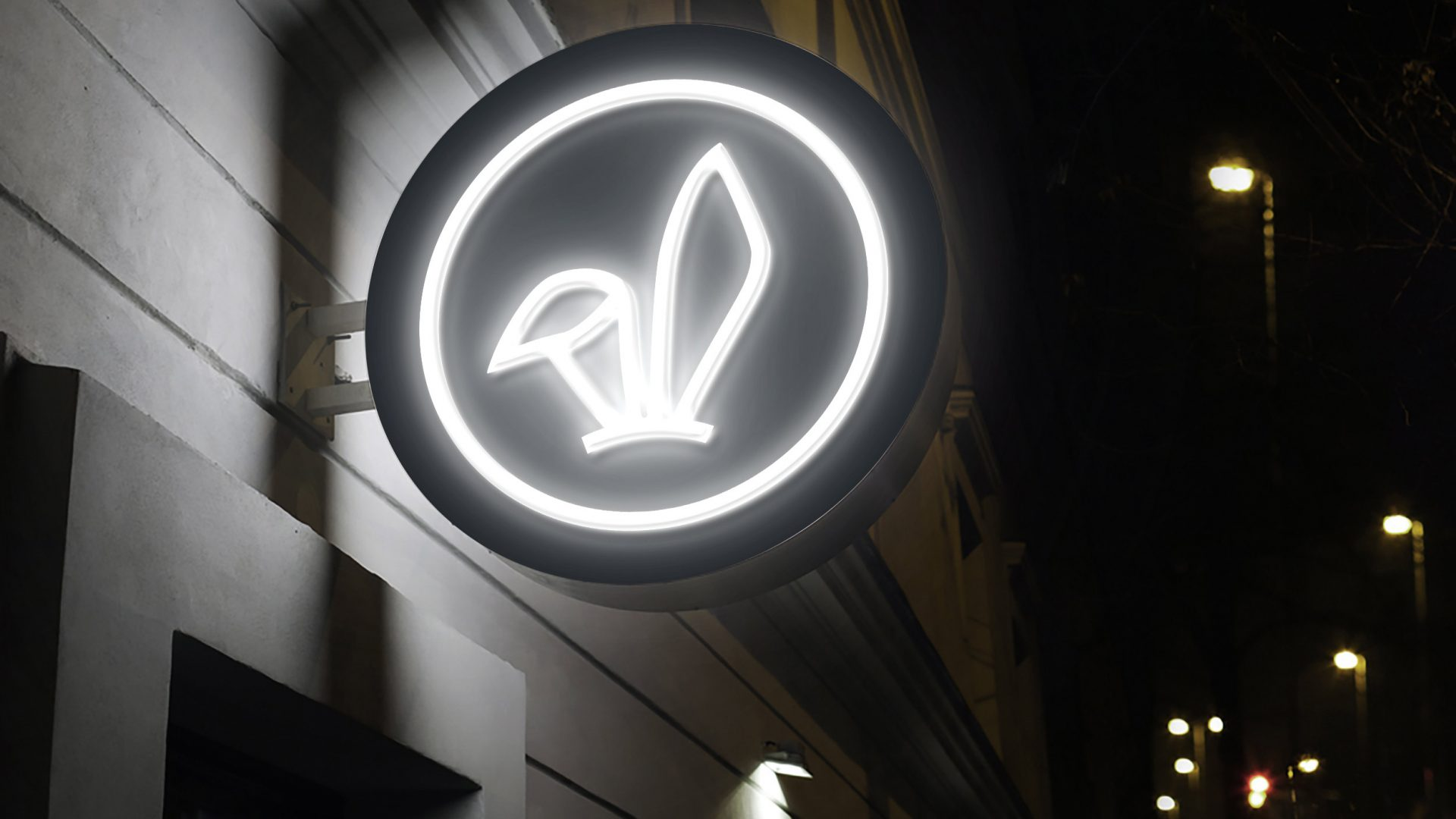 Crate47 Branding forThe Bunny Boba tea store – Outdoor signage with neon bunny ears marque