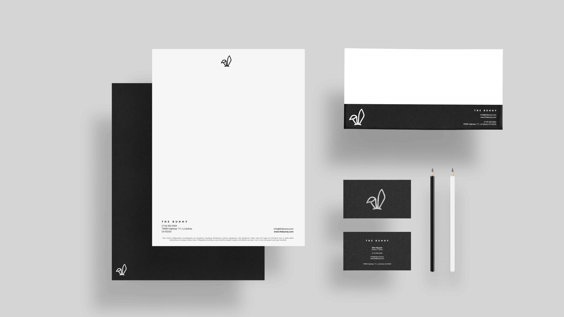 Crate47 Branding forThe Bunny bubble tea shop – Stationery Mockup