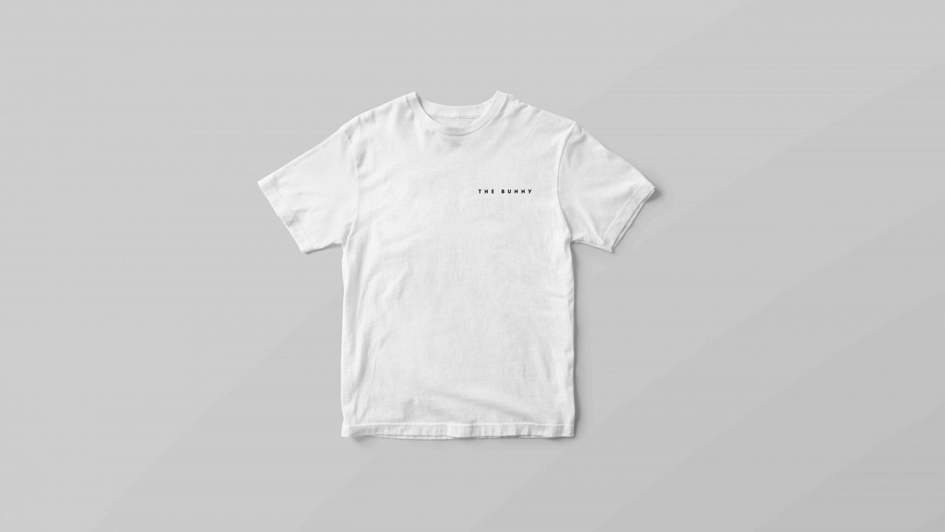 Crate47 Branding forThe Bunny boba tea store – black logo design on white T-shirt