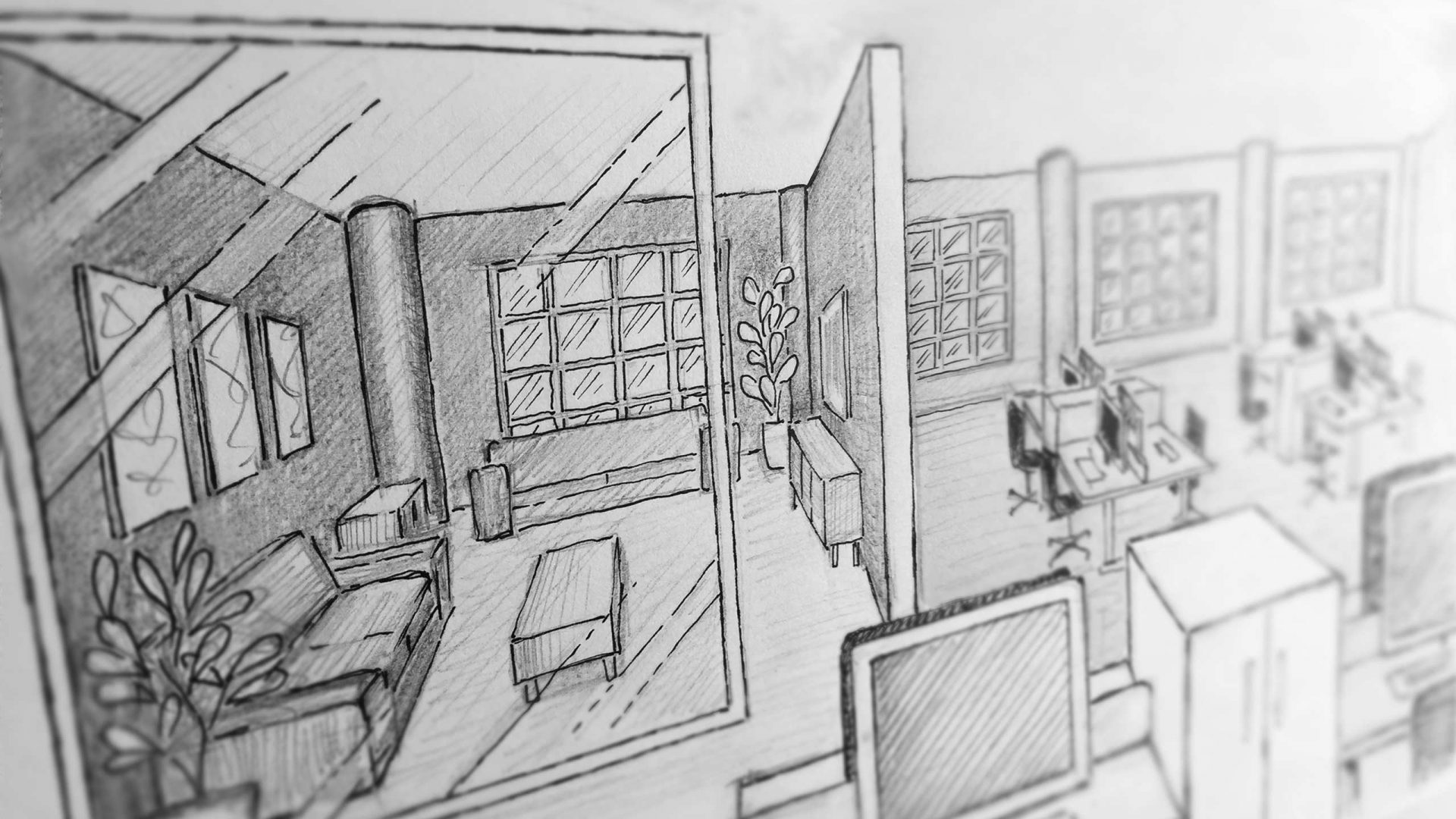 Sketch for an office design by Liqui showing the breakout longe area.
