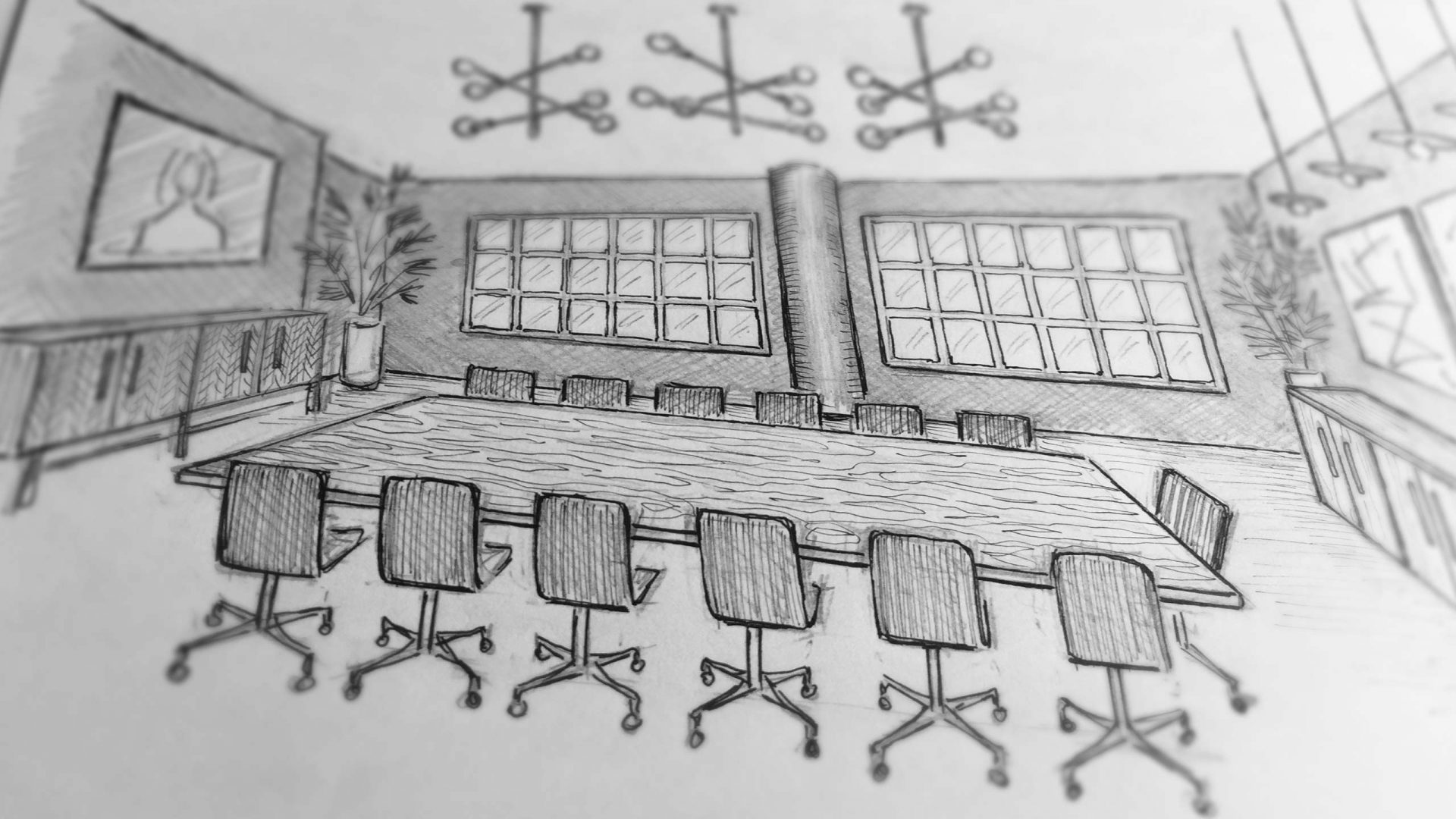 Sketch for an office design by Liqui showing the boardroom.
