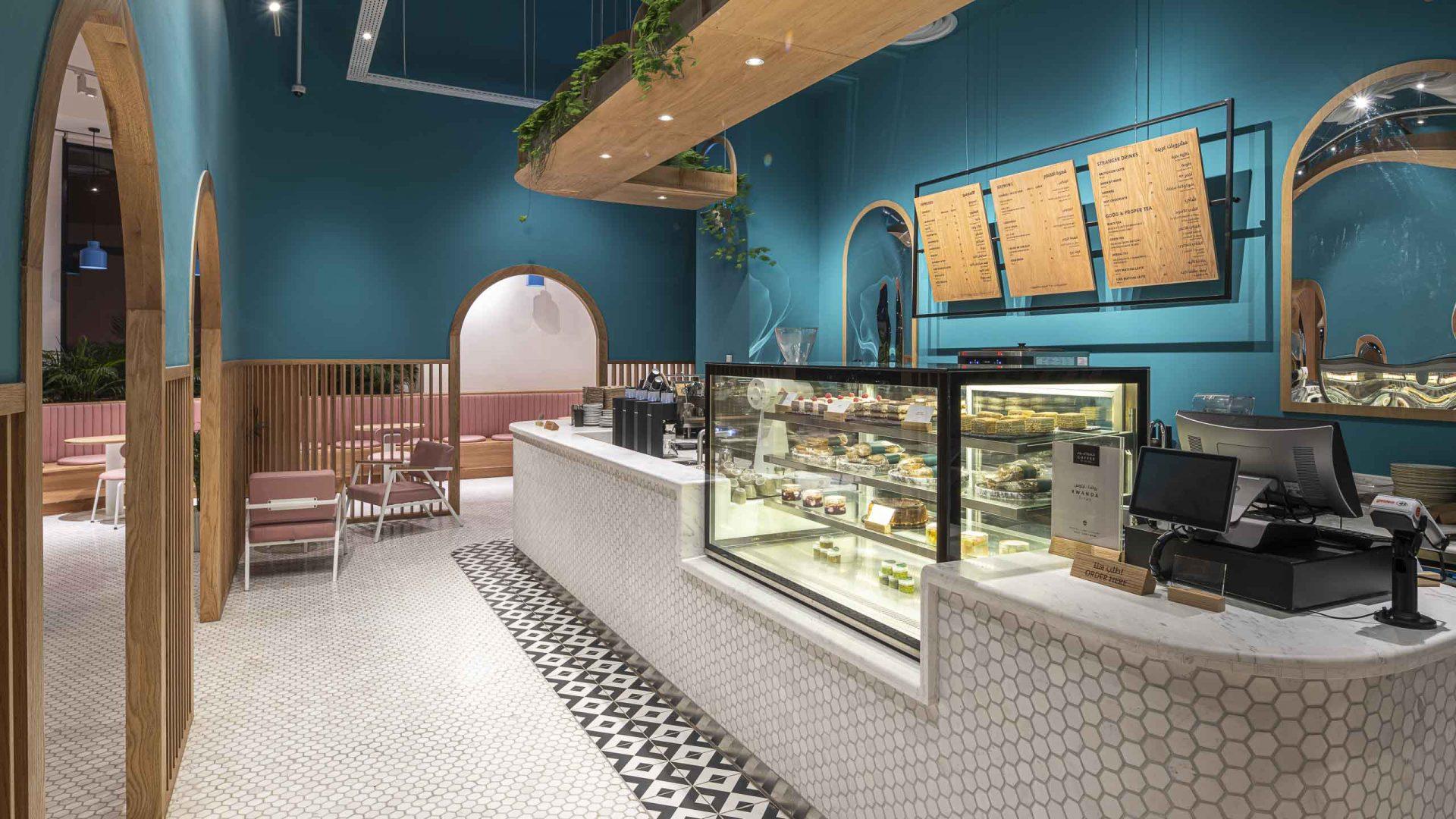 Brew92 Coffee Shop, Mecca by Liqui. Photograph of the ground floor level interior design