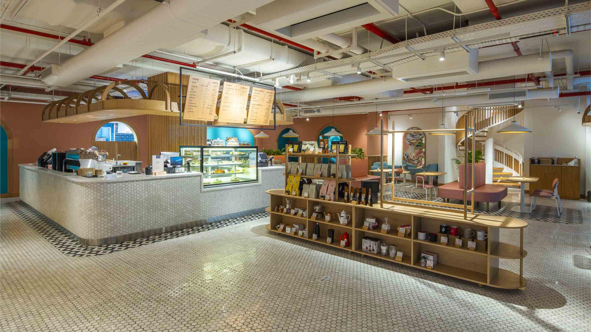 Brew92 Coffee Shop, Mecca. Photograph of the the upper basement level interior design by Liqui.
