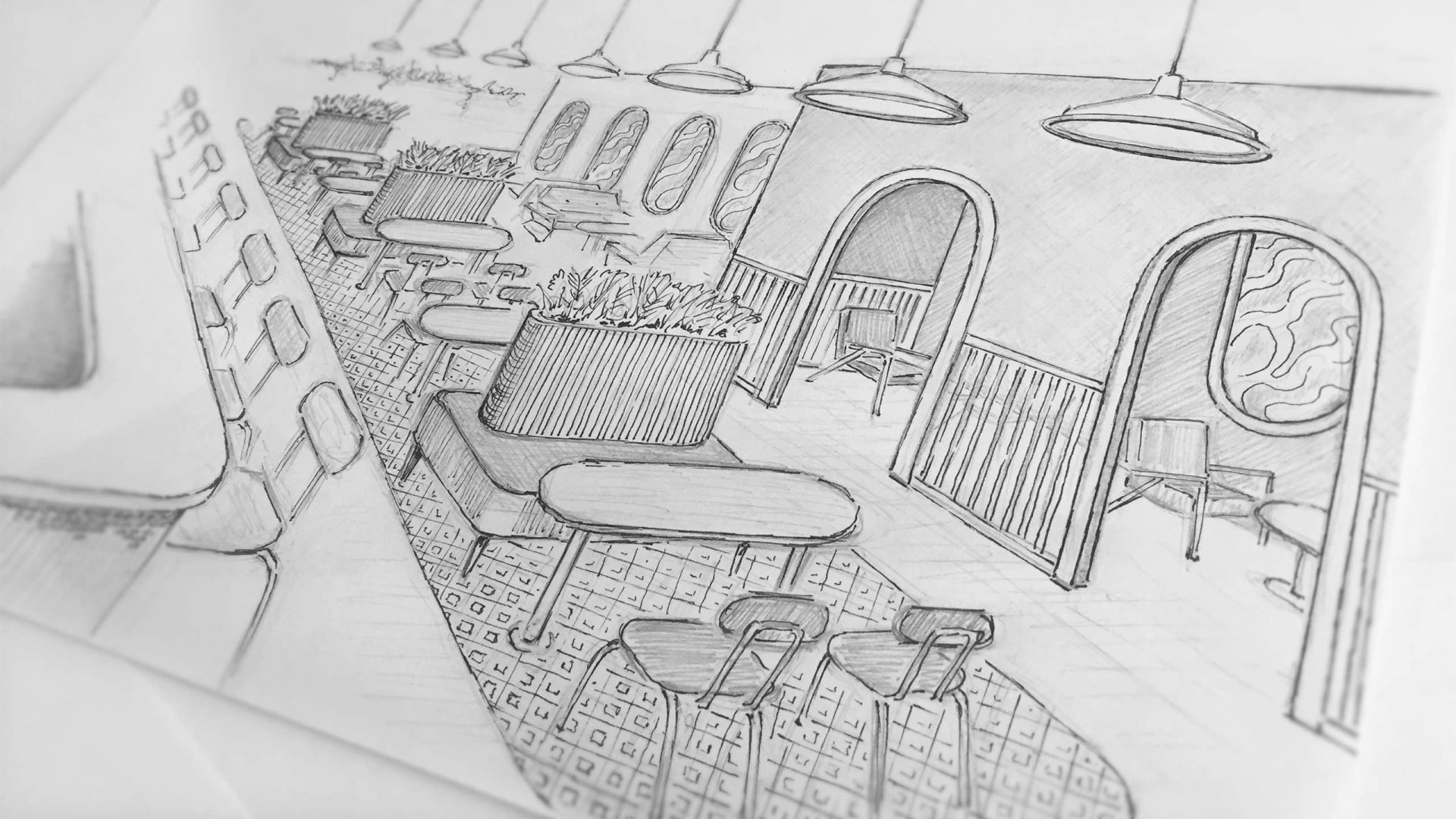 Brew92 Coffee Shop, Mecca by Liqui. Sketch of the basement level.