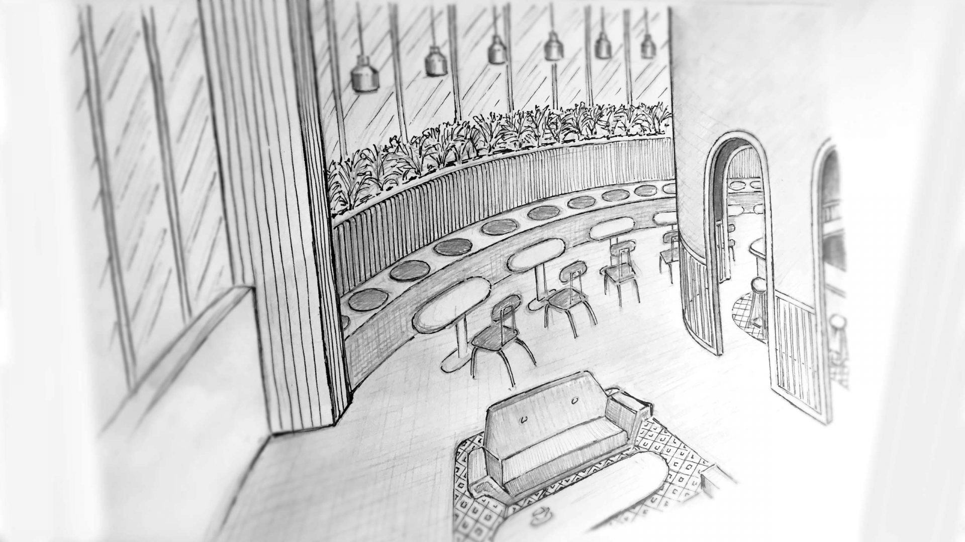 Brew92 Coffee Shop, Mecca by Liqui. Sketch of the ground floor level.
