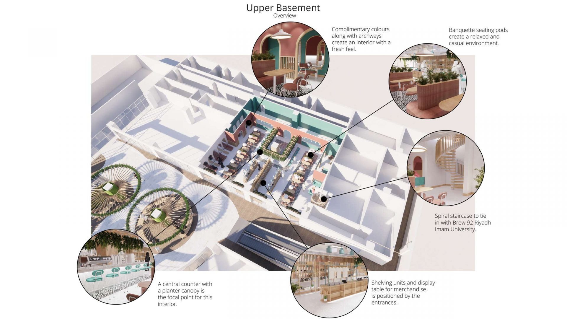 Brew92 Coffee Shop, Mecca by Liqui. Top down render of the Upper Basement interior design
