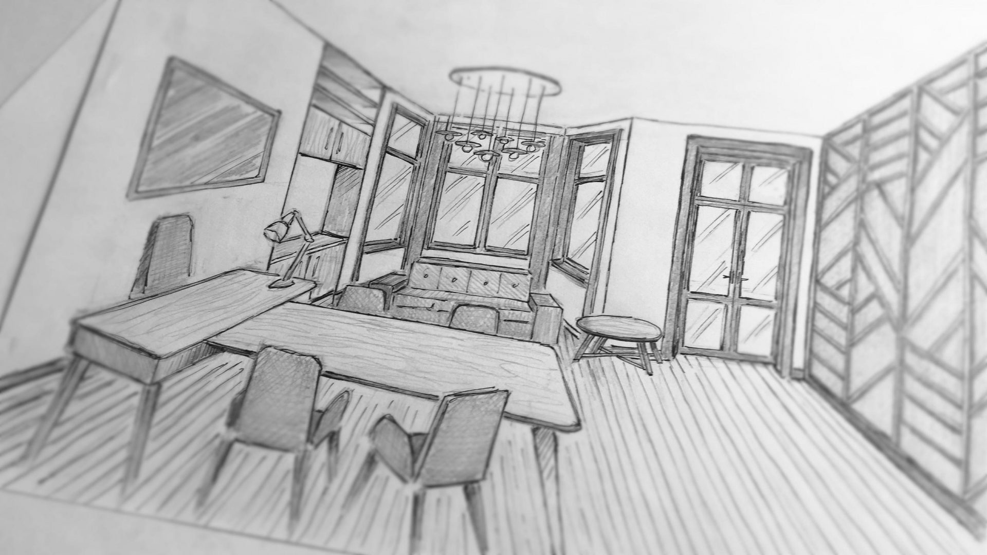 Sketch for an office design by Liqui showing the meeting room.