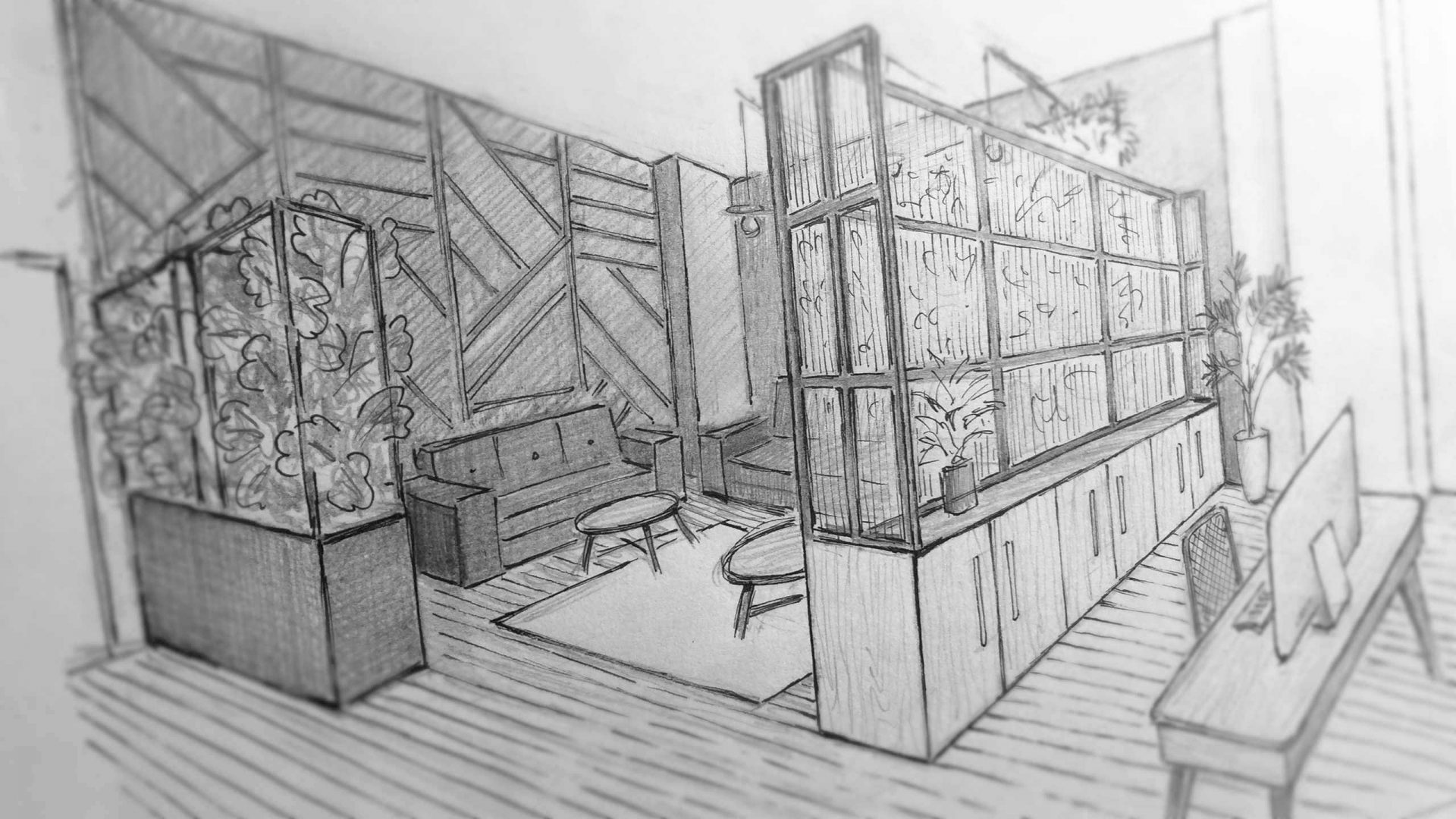 Sketch for an office design by Liqui showing the lounge area.