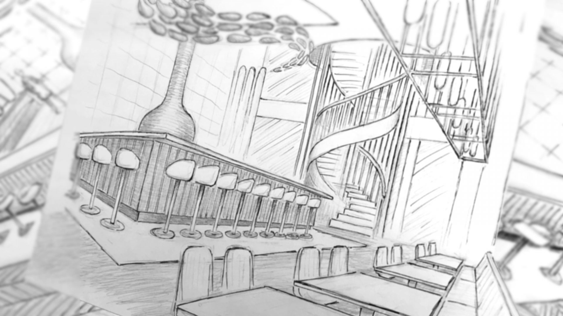 Sketch for a restaurant design by Liqui showing seating and custom counter.
