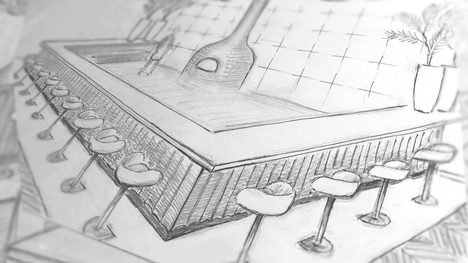 Sketch for a restaurant design by Liqui showing bar seating and custom counter.